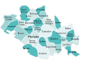territoire d'action de l'ADMR Luy et Gabas