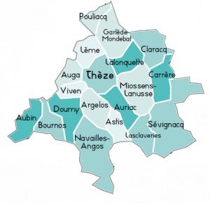carte du téritoire d'action de l'ADMR de Theze